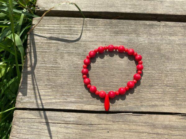 Bransoletka Koral Czerwony (ze szkłem)