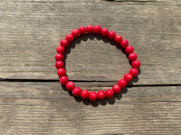 Bransoletka Koral Czerwony 7mm